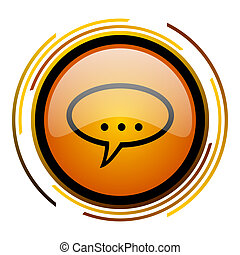 forum round design orange glossy web icon