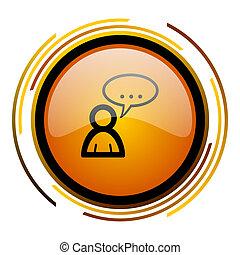 forum round design orange glossy web icon