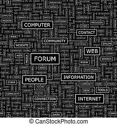 FORUM. Seamless pattern. Word cloud illustration.