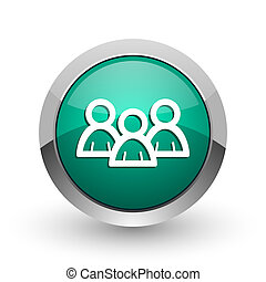 Forum silver metallic chrome web design green round internet icon with shadow on white background.