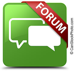Forum soft green square button red ribbon in corner