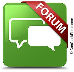 Forum soft green square button red ribbon in corner