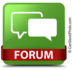 Forum soft green square button red ribbon in middle