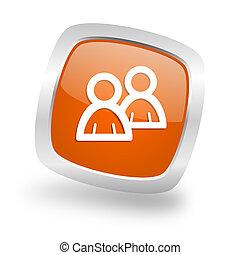 forum square orange glossy chrome silver metallic web icon