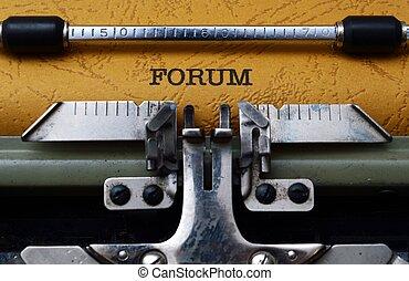 forum, text, på, skrivmaskin