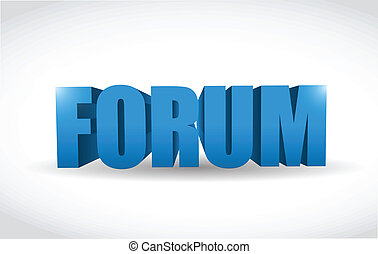 forum text word 3d message illustration design