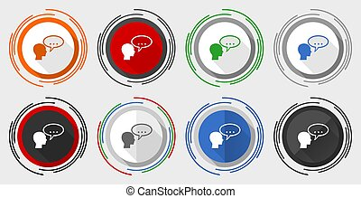 Forum vector icons, set of colorful web buttons in eps 10