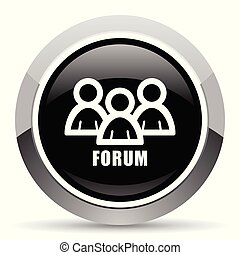 Forum vector steel icon. Chrome border round web button. Silver metallic pushbutton.