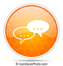 Forum web icon. Round orange glossy internet button for webdesign.