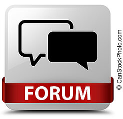 Forum white square button red ribbon in middle