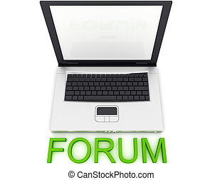 Forum word - Empty Laptop with a color word Forum