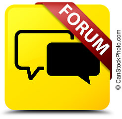 Forum yellow square button red ribbon in corner