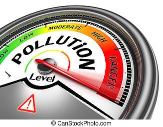 forurening, niveau, begrebsmæssig, meter