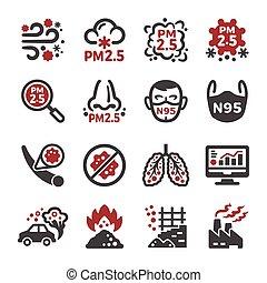 forurening, pm, sæt, ikon, 2.5, luft