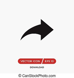 Forward arrow vector icon in modern design style for web site and mobile app