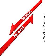 Forward Backward - 3d render, arrow concept of forward and...