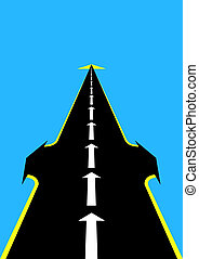 Forward! - Abstract image of the road. Road with an arrow...