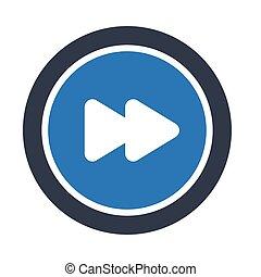 forward glyph color vector icon