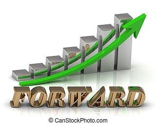 forward-, lettere, crescita, oro, grafico, iscrizione