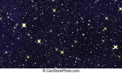 forward motion many night stars with flicker light