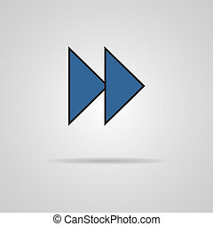 Forward or skip icon with shadow. Media player