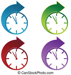 Forward Time - Clocks moving foward isolated on a white...