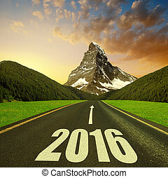 Forward to the New Year 2016 - Asphalted road in mountain...