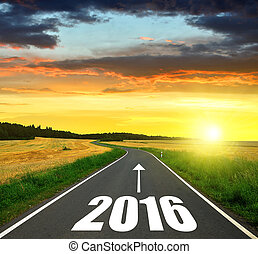 Forward to the New Year 2016 - Asphalted road at sunset...