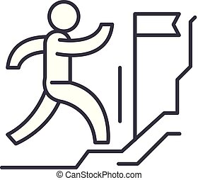 Forward to the victory line icon concept. Forward to the victory vector linear illustration, symbol, sign