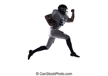 Forward to the victory!  Side view of American football player h