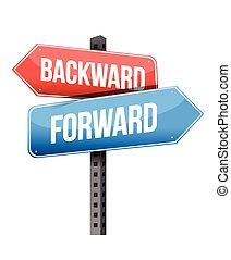 forward versus backward road sign illustration design over a...