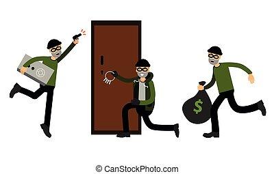 forzar, negro, ladrón, ladrón, ilustración, cerradura, picklock, macho, dinero, robar, conjunto, vector, o, máscara