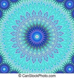 Forzen mandala - blue digital art background