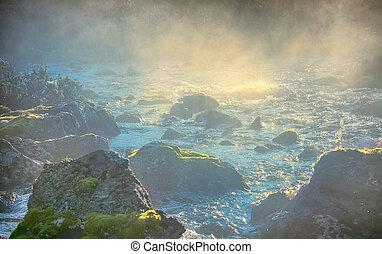 foschia, e, spruzzo, su, rapids, di, montagna, fiume