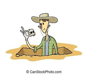 fosse, artefact, blanc, finding., archéologue, isolé, sien, illustration, plat, jeune, main., chasseur, trésor, vecteur, excavation, arrière-plan., stranding
