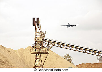 fosse, sur, atterrissage, avion, gravier, approche