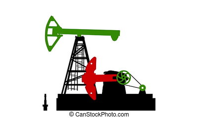 Fossil fuel energy, oil pump isolated on white background. 2d animation. with B&W matte.