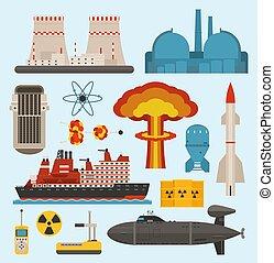 fossil-fuel, industriel, illustration., puissance, électricité, énergie nucléaire, générer, signe, vecteur, atomique, électrique, turbine, technologie, industrie, renouvelable, pollution