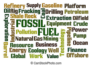Fossil Fuel word cloud on white background