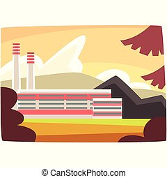 Fossil fuel plant, energy producing power station horizontal vector illustration