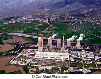 Fossil fuel power plant, aerial