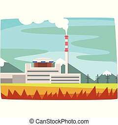 Fossil fuel power station, electricity generation plant horizontal vector illustration