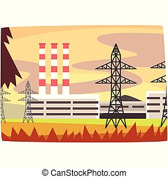 Fossil fuel power station, energy producing plant horizontal vector illustration
