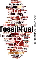 Fossil fuel-vertical - Fossil fuel word cloud concept. ...