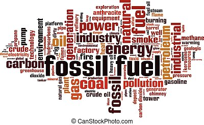 Fossil fuel word cloud concept. Vector illustration