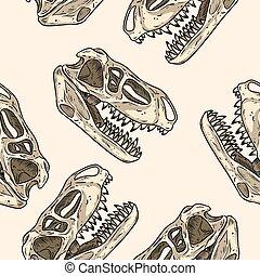 fossilized, fleischfressend, totenschädel, reptil, ...