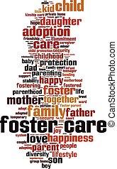 foster, palabra, nube, cuidado