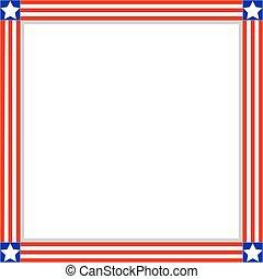 fosterländsk, flagga, ram, amerikan