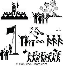 fosterländsk, medborgare, dag, oberoende