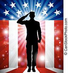 fosterländsk, soldat, hälsning, bakgrund, oss